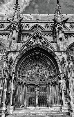 Photograph - Lincoln Cathedral Side Entrance Monochrome by Scott Lyons