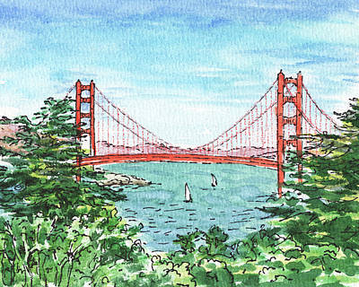 Sports Paintings - Lincoln Park Golf Course View Of Golden Gate Bridge by Irina Sztukowski