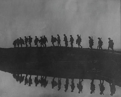 Photograph - Line Of Marching Soldiers On Ridge Silho by Time Life Pictures
