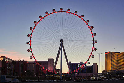Photograph - Link High Roller Wheel Las Vegas, At Dusk by Tatiana Travelways