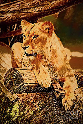 Painting - Lion A18-157 by Ray Shrewsberry