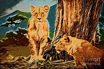 Painting - Lion A18-158 by Ray Shrewsberry