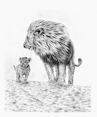 Drawing - Lion And Cub by Remrov