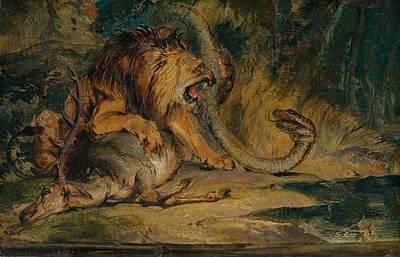 Painting - Lion Defending Its Prey by Edwin Landseer