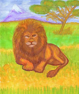 Painting - Lion by Dobrotsvet Art