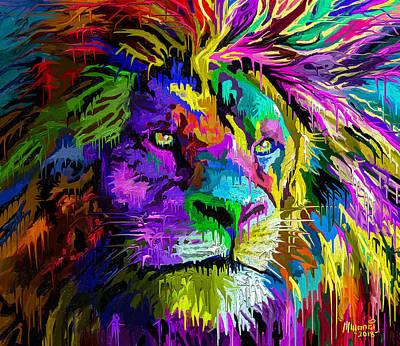 Animals Paintings - Lion Head by Anthony Mwangi