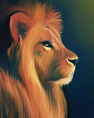 Digital Art - Lion Illustration by Illustration By Shannon Posedenti