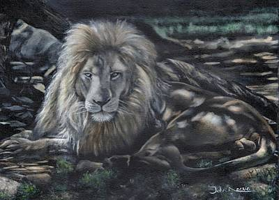 Painting - Lion In Dappled Shade by John Neeve