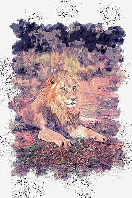 Animals Paintings - Lion Lying on Ground -  watercolor by Ahmet Asar by Ahmet Asar