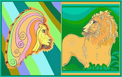 Animals Drawings - Lion Pair cool by Julia Woodman