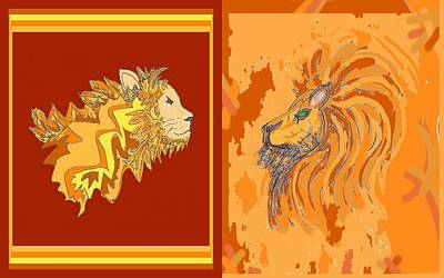 Drawing - Lion Pair Hot by Julia Woodman