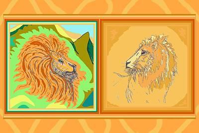 Animals Drawings - Lion Pair warm by Julia Woodman