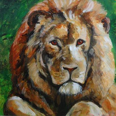 Painting - Lion Watching by June Walker