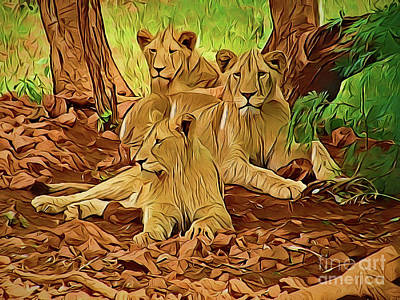 Painting - Lions A18-22 by Ray Shrewsberry