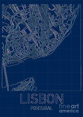 Book Quotes - Lisbon Blueprint City Map by HELGE Art Gallery