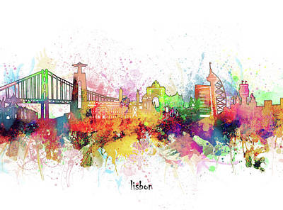 Abstract Skyline Royalty-Free and Rights-Managed Images - Lisbon Skyline Artistic by Bekim M