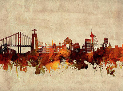 Abstract Skyline Royalty-Free and Rights-Managed Images - Lisbon Skyline Sepia by Bekim M