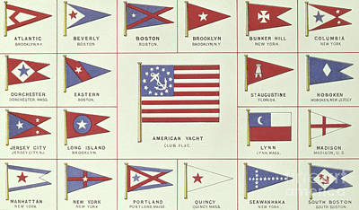 Drawing - List Of American Yacht Club Flags, From Lloyds Register Of Shipping, 1881 by English School