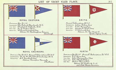 Drawing - List Of Yacht Club Flags, From The Lloyds Register Of Shipping, 1881 by English School