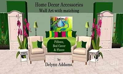 Digital Art - Lit Dam Abstract Green And Tan Interior Home Decor By Delynn Addams by Delynn Addams