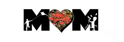 Photograph - Little Girl And Boy Silhouette In Mom Big Letter With Cluster Of Red Roses In Heart by Colleen Cornelius