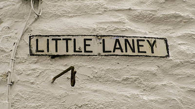Photograph - Little Laney Sign Polperro Cornwall by Richard Brookes
