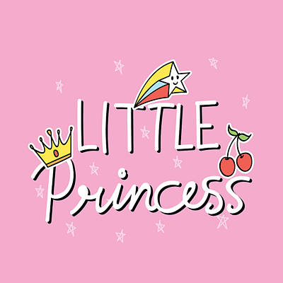 Drawing - Little Princess - Baby Room Nursery Art Poster Print by Dadada Shop