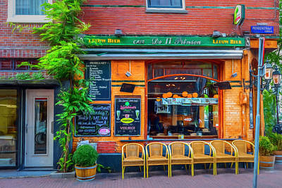 Photograph - Little Pub Downtown Amsterdam Watercolor Painting by Debra and Dave Vanderlaan