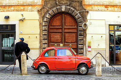 Photograph - Little Red Classic Fiat 500 In Rome by John Rizzuto