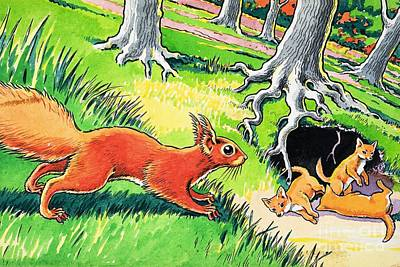 Painting - Little Red Squirrel by Harry M Pettit