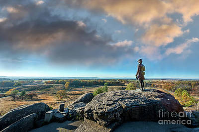 Animals Royalty-Free and Rights-Managed Images - Little Round Top Memorial on the Gettysburg Battlefield during Autumn by Patrick Wolf