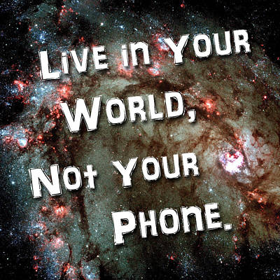 Photograph - Live In Your World Not Your Phone 1 by Bill Swartwout Photography