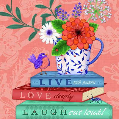 Digital Art - Live Laugh Love by Valerie Drake Lesiak