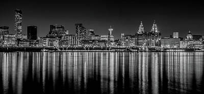 Photograph - Liverpool Skyline In The Night Black And White by Paul Madden