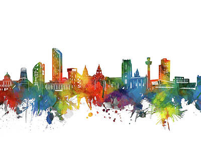 Abstract Skyline Royalty-Free and Rights-Managed Images - Liverpool Skyline Watercolor 2 by Bekim M