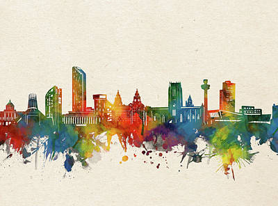 Abstract Skyline Royalty-Free and Rights-Managed Images - Liverpool Skyline Watercolor by Bekim M