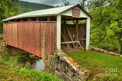 Photograph - Liverpool Township Red Covered Bridge by Adam Jewell