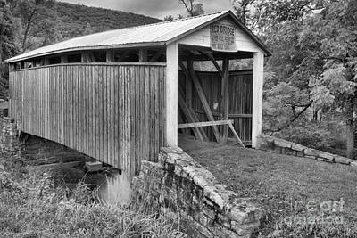 Photograph - Liverpool Township Red Covered Bridge Black And White by Adam Jewell