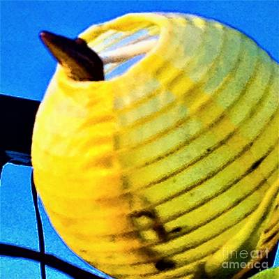 Photograph - Lizard In Yellow Globe  by Allison Constantino