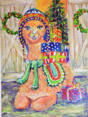 Painting - Llama Baring Gifts by Li Newton