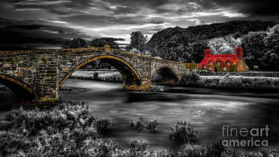 Photograph - Llanrwst Ivy Cottage And Bridge by Adrian Evans