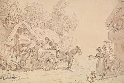Drawing - Loading Sacks Into A Cart by Thomas Rowlandson