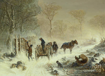 Painting - Loading Wood In The Snow, 1858  by Hermann Kauffmann