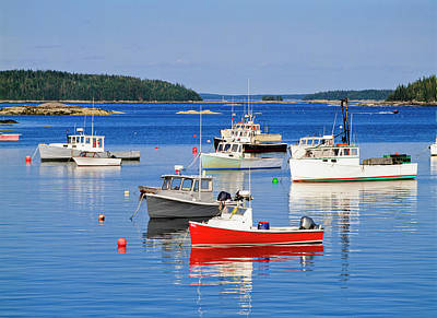 Harbor Scene Wall Art - Photograph - Lobster Boats In Stonington Harbour by Ellen Rooney