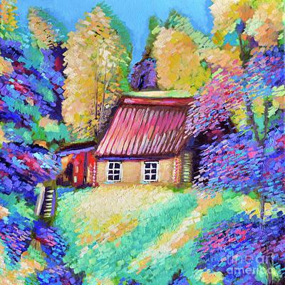 Abstract Trees Mandy Budan - Lodge in the forest by Natalia Shcherbakova