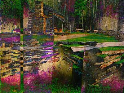 Surrealism Royalty-Free and Rights-Managed Images - Log Cabin Surreal Abstract by Michael McBrayer