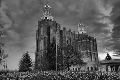 Photograph - Logan Temple Pink Sunset Black And White by Adam Jewell