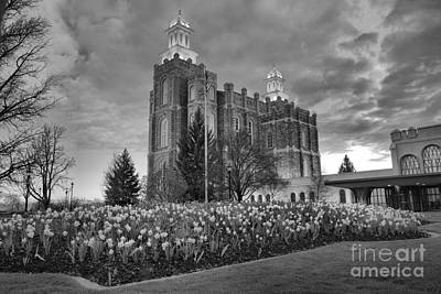 Photograph - Logan Temple Sunset Black And White by Adam Jewell