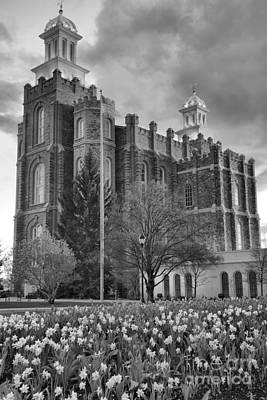Photograph - Logan Temple Sunset Portrait Black And White by Adam Jewell