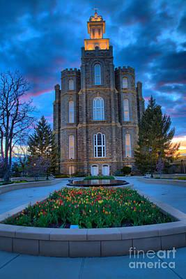 Photograph - Logan Utah Temple Evening Portrait by Adam Jewell